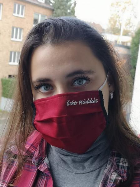 "Bordeaux Behelfsmaske ""Öcher Mäddche"" in silber gedruckt"