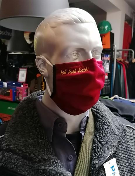 "Bordeaux Behelfsmaske mit Stick ""Ich hab kalt"" | mit Gummiband & Nasensteg"