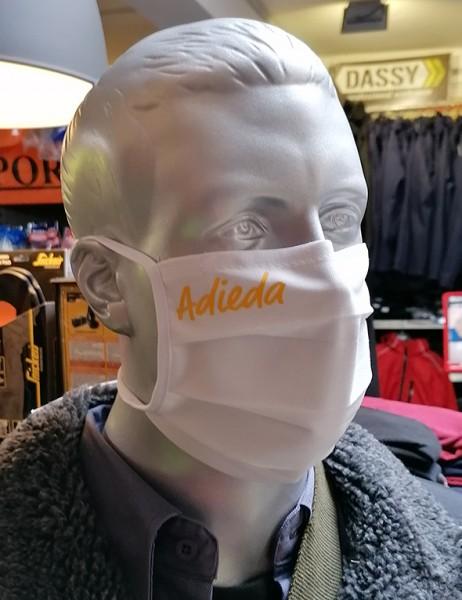 """Behelfsmaske """"Adieda"""" Farbe weiß mit Bindeband"""