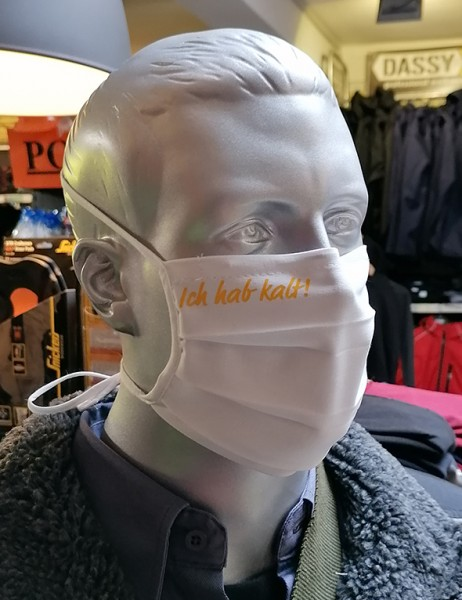 """Behelfsmaske """"Ich hab kalt"""" Farbe weiß mit Bindeband"""
