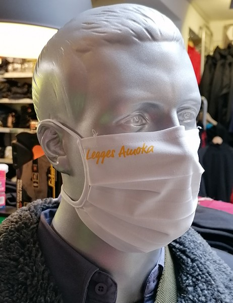 "Behelfsmaske ""Legges Amoka"" Farbe weiß mit Bindeband"