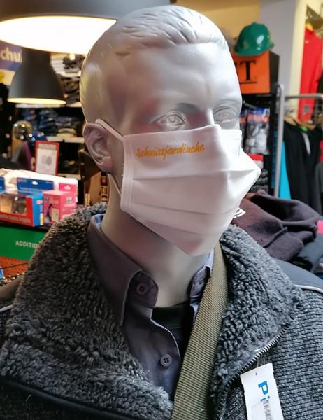 """Weiße Behelfsmaske """"Schnüssjardinche""""   mit Gummizug & Nasensteg   BW"""
