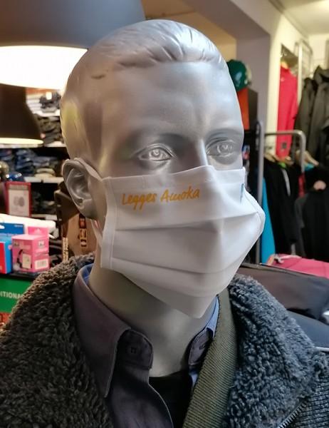 "Weiße Behelfsmaske ""Legges Amoka"" | mit Gummizug & Nasensteg | BW"