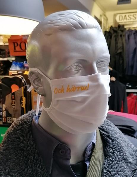 """Behelfsmaske """"Och härrm"""" Farbe weiß mit Bindeband"""