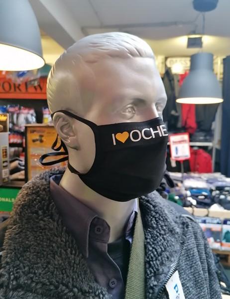 "Schwarze Behelfsmaske ""I Love Oche"" | mit Bindeband & Nasensteg | Mix"