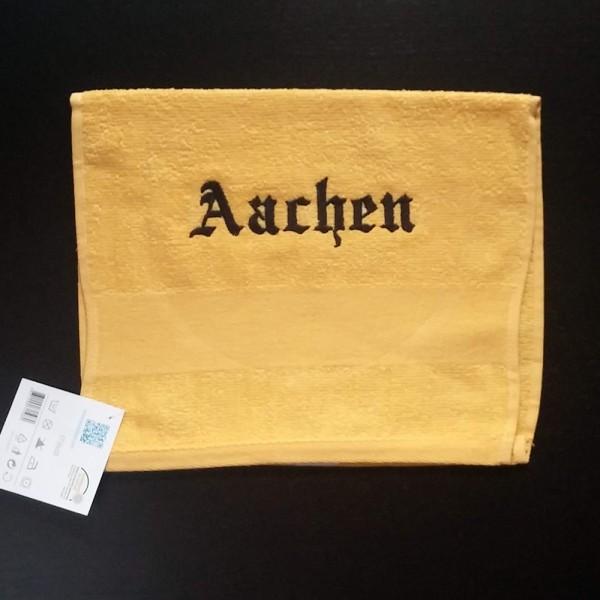 Besticktes gelbes Gästehandtuch, Aachen Stickfarbe schwarz, Gr. 30x50 cm