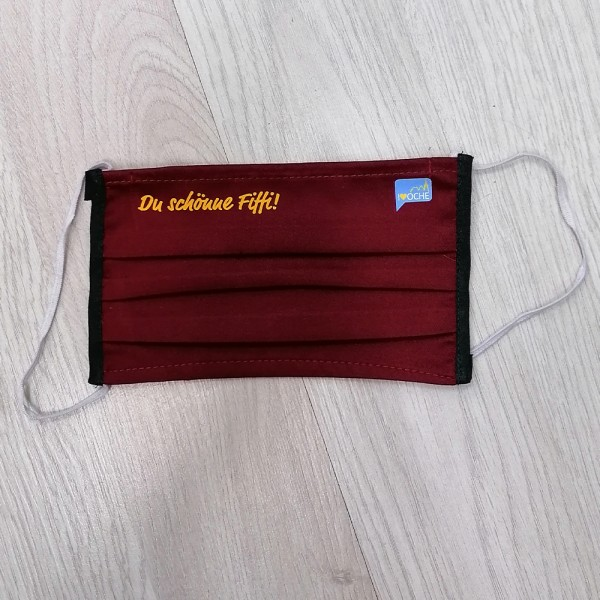 "Bordeaux Behelfsmaske ""Du schönne Fiffi"" | mit Gummiband & Nasensteg"
