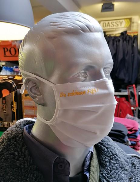 """Behelfsmaske """"Du schönne Fiffi"""" Farbe weiß mit Bindeband"""