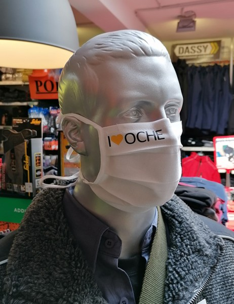 """Behelfsmaske """"I Love Oche"""" Farbe weiß mit Bindeband"""