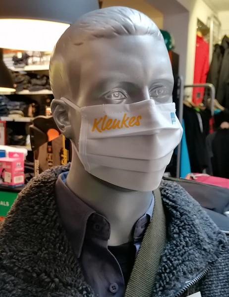 "Weiße Behelfsmaske ""Klenkes"" | mit Gummizug & Nasensteg | BW"