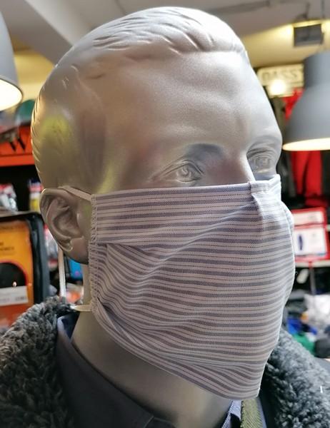 Nase-,Mundmaske m. Gummizug - nicht zertifiziert blau/weiß gestreift