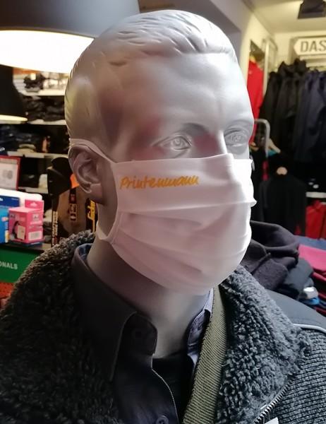"""Behelfsmaske """"Printenmann"""" Farbe weiß mit Bindeband"""